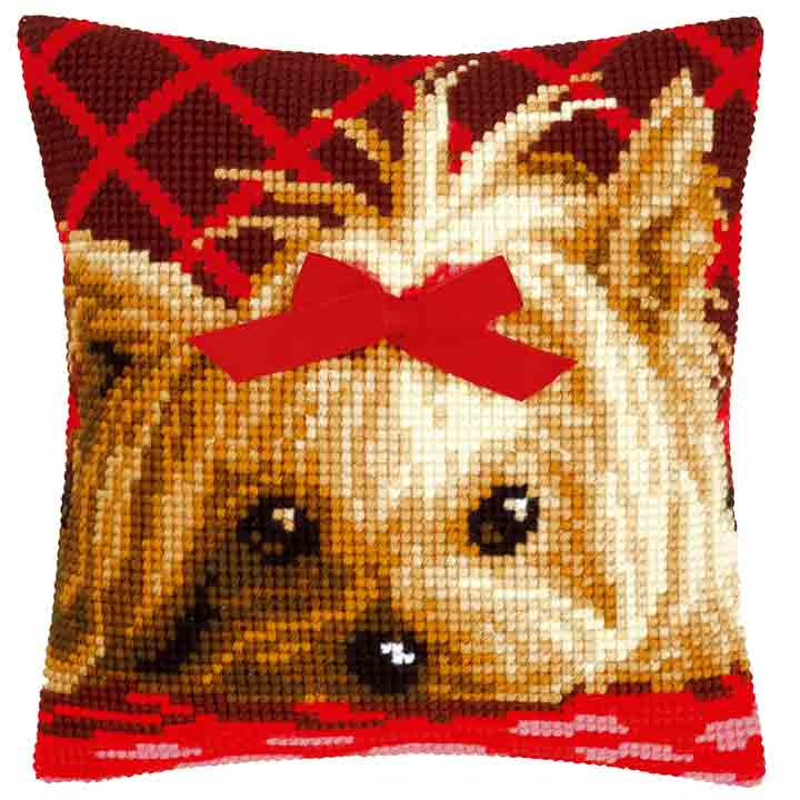 Vervaco Cross Stitch Cushion: Yorkshire with Bow Cats & Dogs CSCK