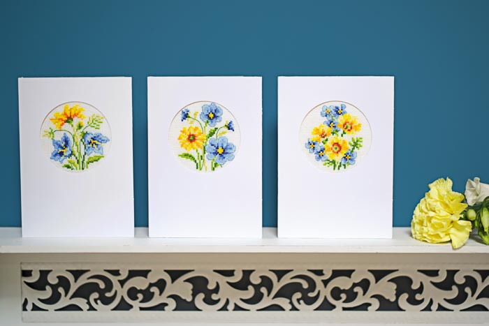Vervaco Counted Cross Stitch Kit: Card: Blue & Yellow Flowers: Set of 3 | PN_0155786
