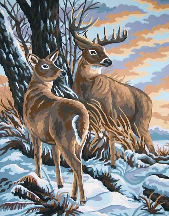Collection D Art Printed Tapestry Canvas: Stag and Doe Animals & Birds PTC