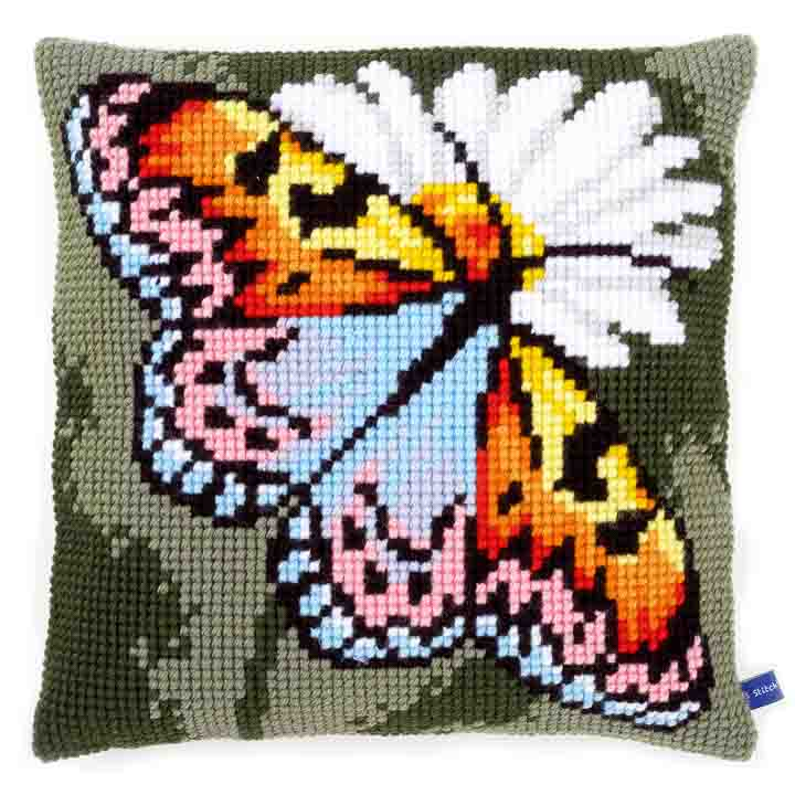 Vervaco Cross Stitch Cushion: Butterfly Insects & Bugs CSCK