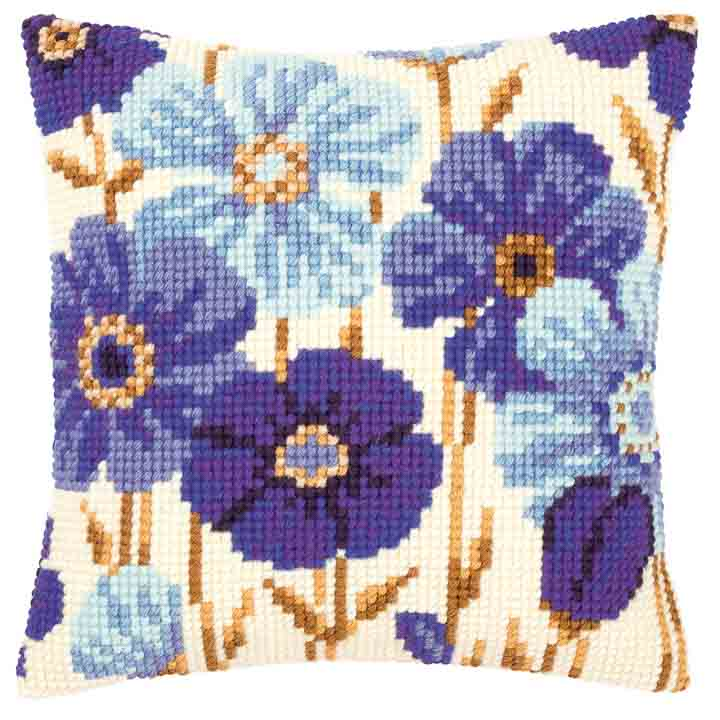 Vervaco Cross Stitch Cushion: Blue Flowers Flowers & Nature CSCK