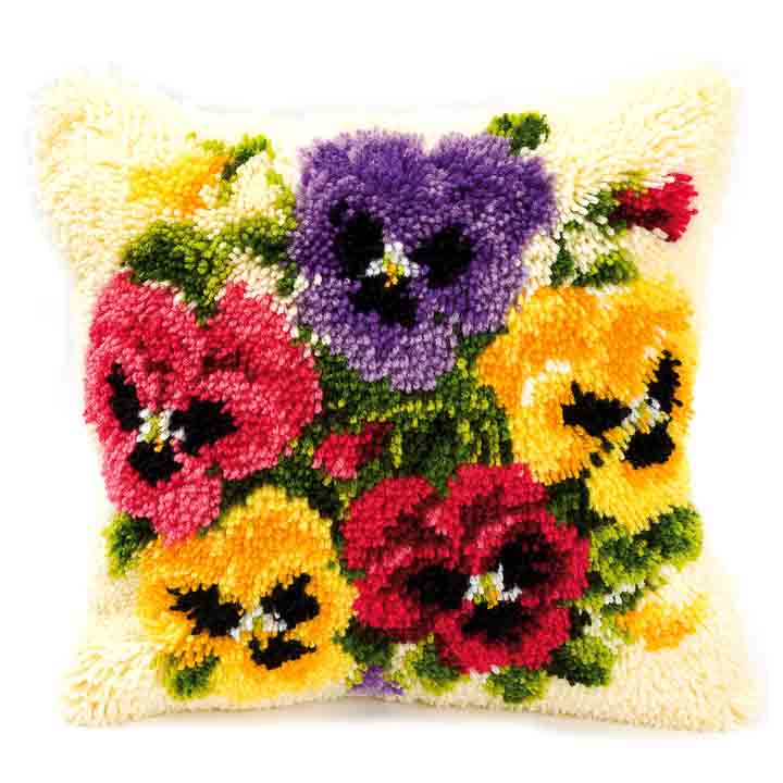 Vervaco Latch Hook Kit: Cushion: Pansies