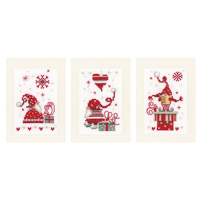 Vervaco Counted Cross Stitch Kit: Greeting Cards: Christmas Gnomes: Set of 3 | PN_0165989 Christmas CSK
