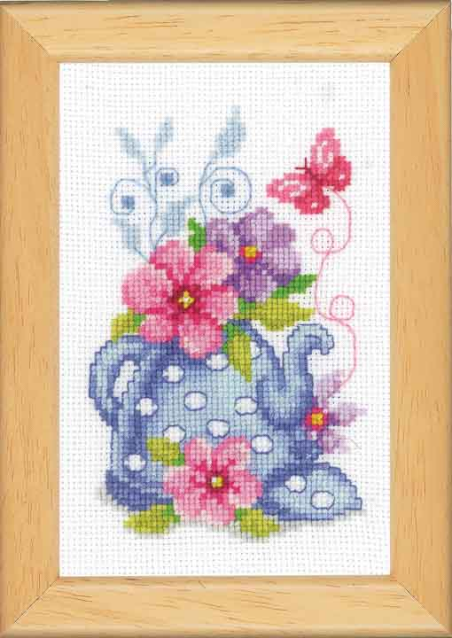 Vervaco Counted Cross Stitch Kit: Blue Tea Pot & Flowers