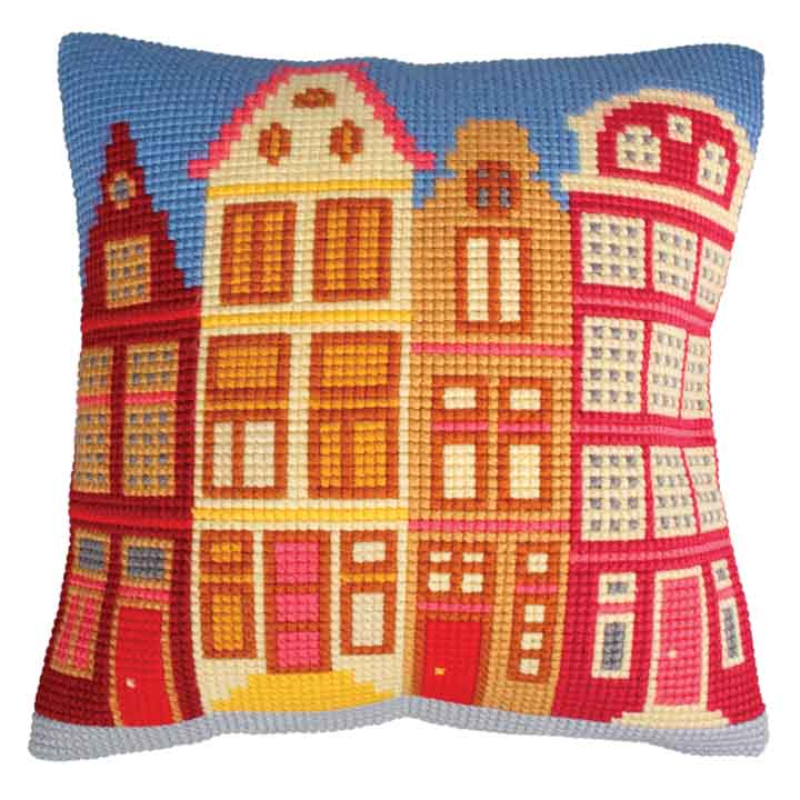 Collection D Art Cross Stitch Cushion: Houses
