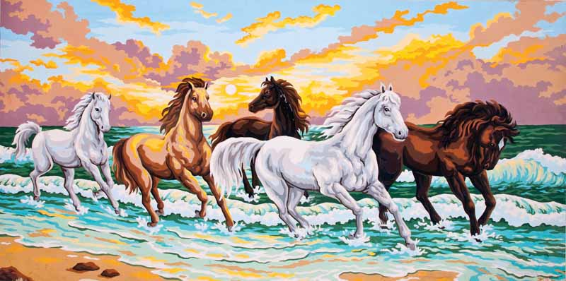Collection D Art Printed Tapestry Canvas: Galloping Through the Waves Animals & Birds PTC