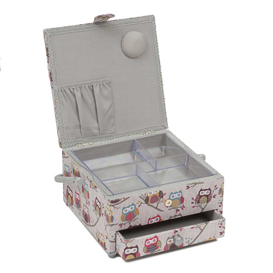 HobbyGift MRLD_195 | Sewing Box: Square with Drawer: Hoot Bird Print Sewing Box 2