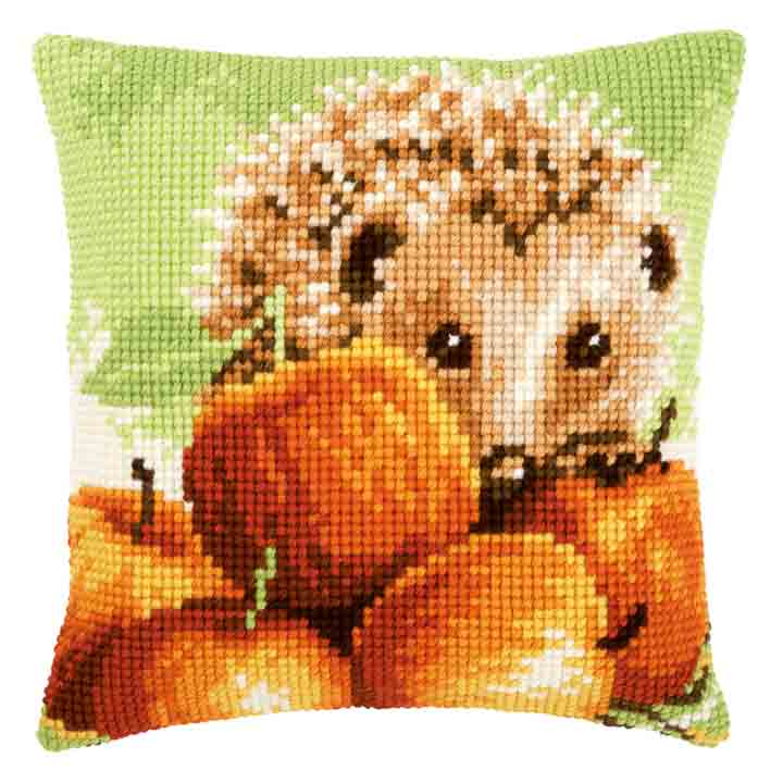 Vervaco Cross Stitch Cushion: Hedgehog with Apples