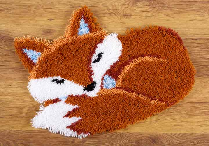 Vervaco Latch Hook Shaped Rug: Sleeping Fox Latch Hook Rug & Wall Hanging Kit