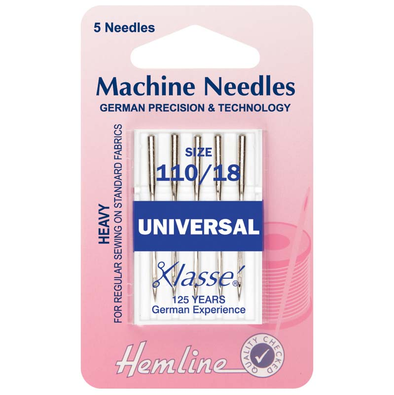 Hemline Sewing Machine Needles: Universal: Heavy 110/18: 5 Pieces Universal Needle