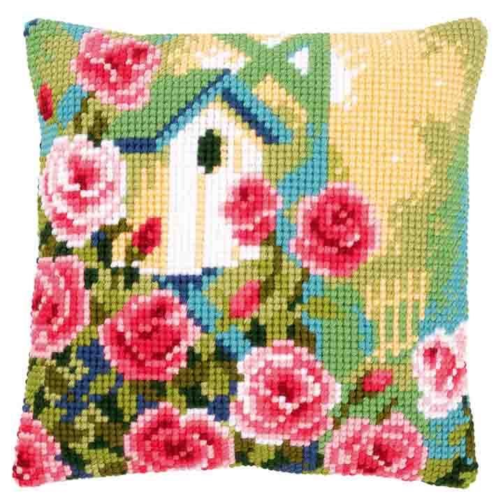 Vervaco Cross Stitch Cushion: Birdhouse and Roses