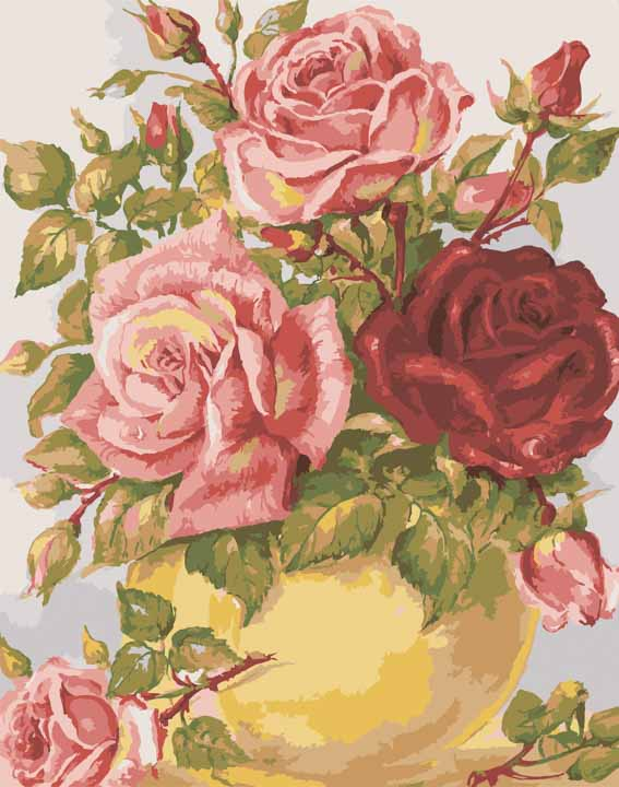 Collection D Art Printed Tapestry Canvas: Roses in a Yellow Bowl Flowers & Nature PTC