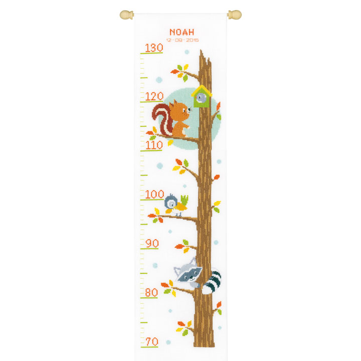 Vervaco Counted Cross Stitch: Kit: Height Chart: Animals in Tree