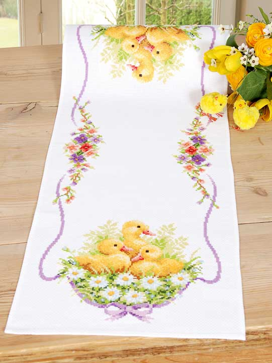 Vervaco Counted Cross Stitch Kit: Runner: Ducklings Runners and Tablecloths CSK