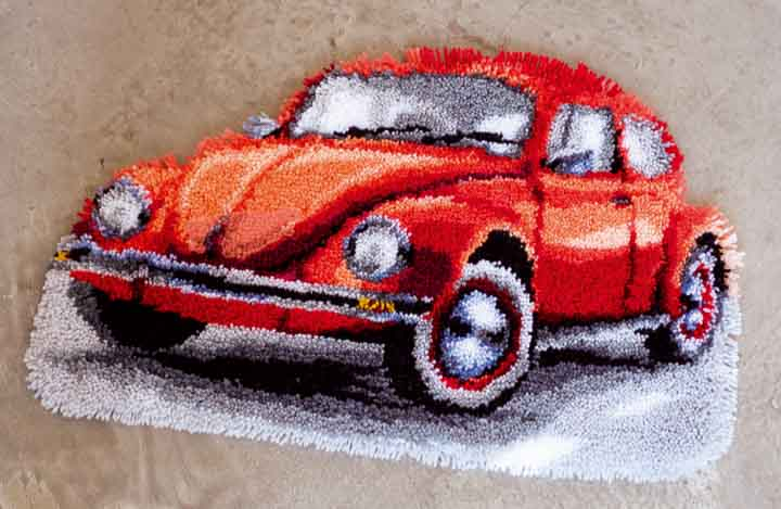 Vervaco Latch Hook Rug: Red Beetle Car Latch Hook Rug & Wall Hanging Kit
