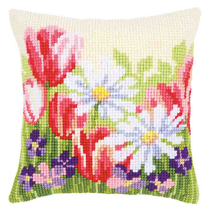 Vervaco Cross Stitch Kit: Cushion: Spring Flowers | PN_0163859 Flowers & Nature CSCK
