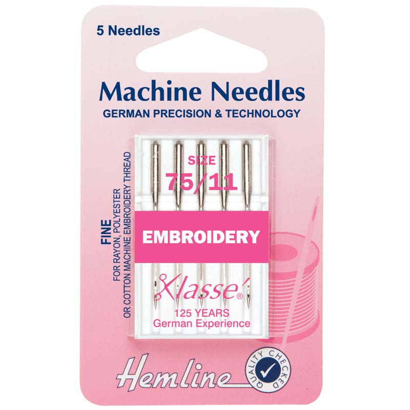 Hemline Sewing Machine Needles: Embroidery: Fine 75/11: 5 Pieces