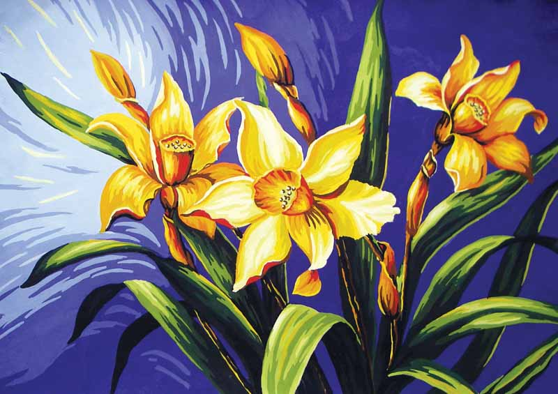 Collection D Art Printed Tapestry Canvas: Yellow Lilies Flowers & Nature PTC