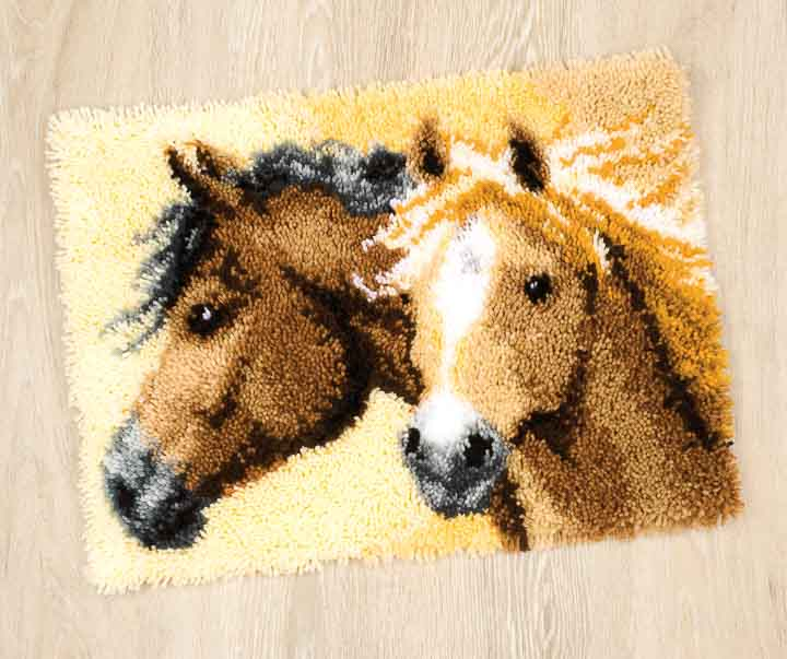 Vervaco Latch Hook Rug Kit - Horses Latch Hook Rug & Wall Hanging Kit