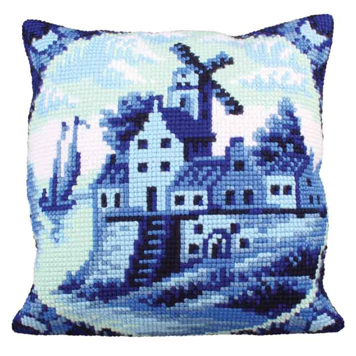 Collection D Art Cross Stitch Cushion: Delftware