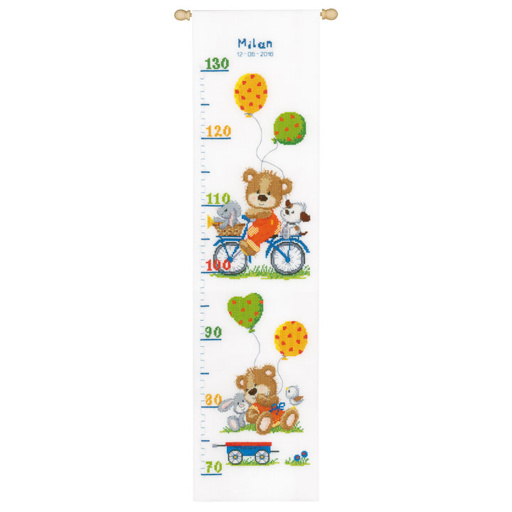 Vervaco Counted Cross Stitch Kit: Height Chart: Playful Bear