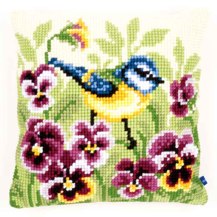 Vervaco Cross Stitch Cushion: Blue Tit on Pansies