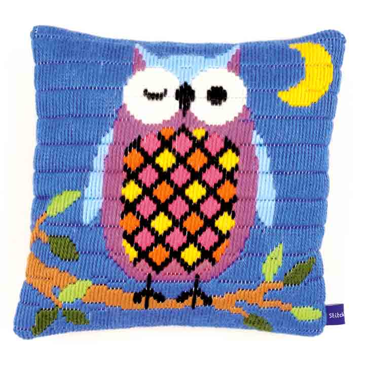 Vervaco Long Stitch Cushion: Owl At Night