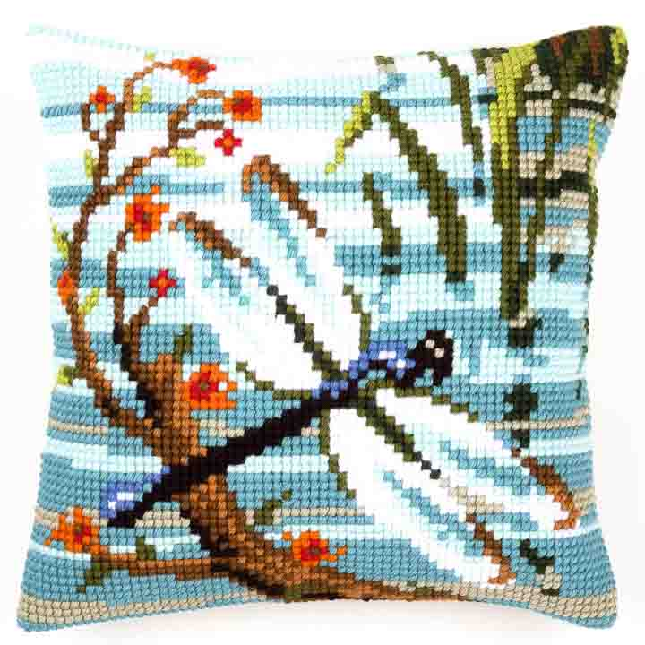 Vervaco Cross Stitch Cushion: Dragonfly Insects & Bugs CSCK