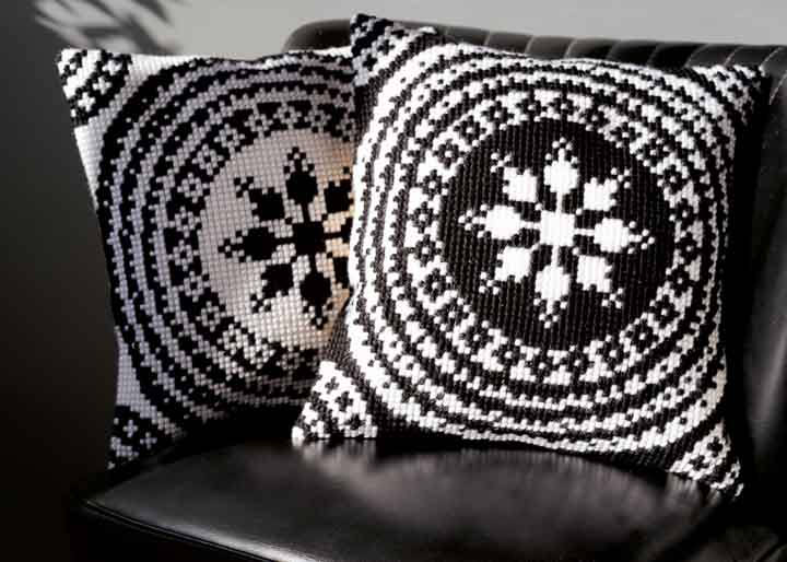 Vervaco Cross Stitch Cushion Kit: Black and White Flowers & Nature CSCK