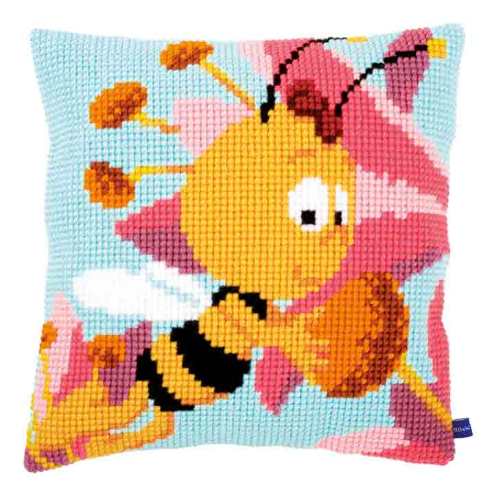 Vervaco Cross Stitch Cushion: Willy with a Pink Flower Characters CSCK
