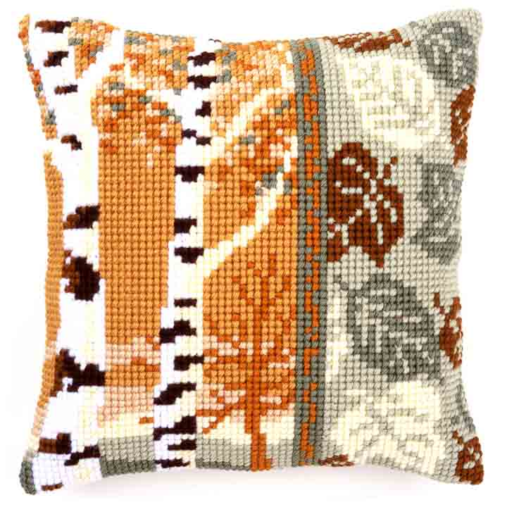 Vervaco Cross Stitch Cushion: Birch Trees Flowers & Nature CSCK