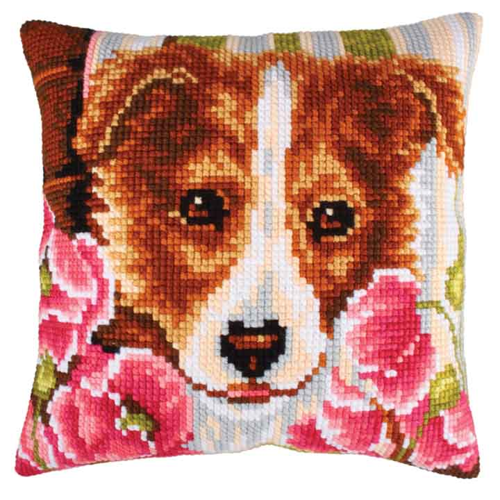 Collection D Art Cross Stitch Cushion: Dog and Pink Poppies