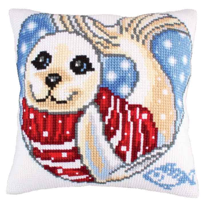 Collection D Art Cross Stitch Cushion: Seal Cub Sealife CSCK