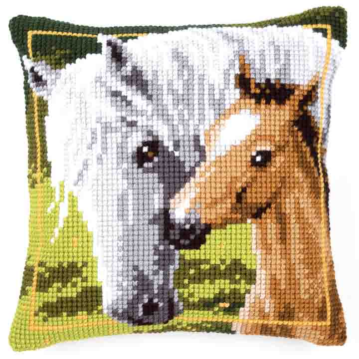 Vervaco Cross Stitch Cushion: Mare and Foal Animals & Birds CSCK
