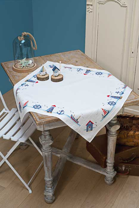 Vervaco Counted Cross Stitch Kit: Tablecloth: Maritime Design | PN_0147141 Runners and Tablecloths CSK