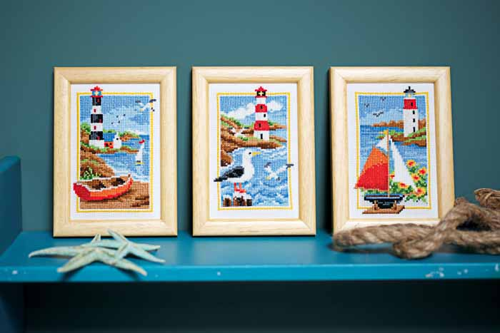 Vervaco Counted Cross Stitch Kit: Lighthouse: Set of 3 | PN_0158159 Buildings CSK 2