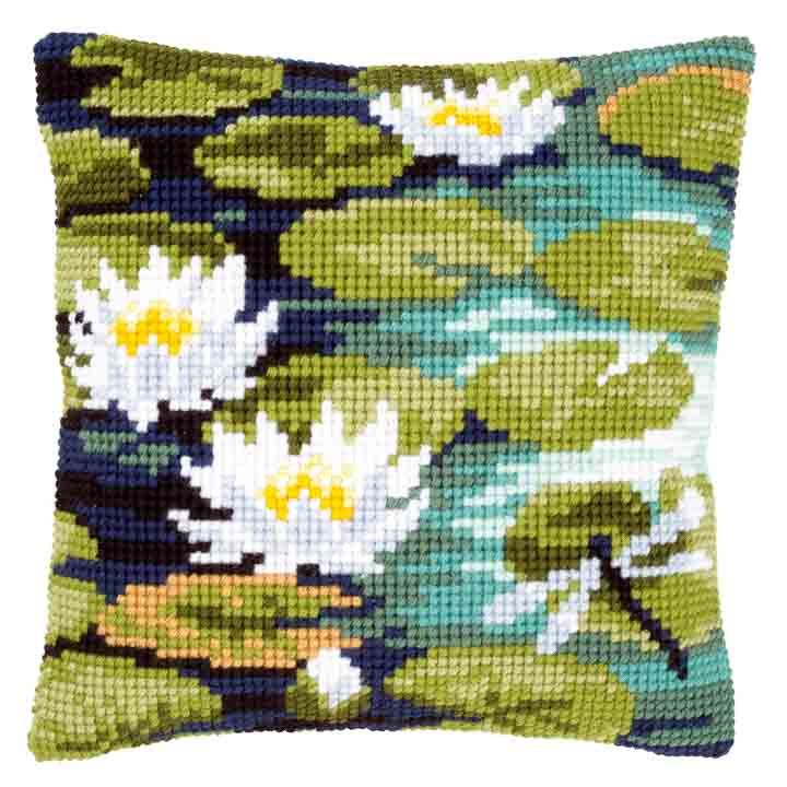 Vervaco Cross Stitch Cushion: Water Lilies