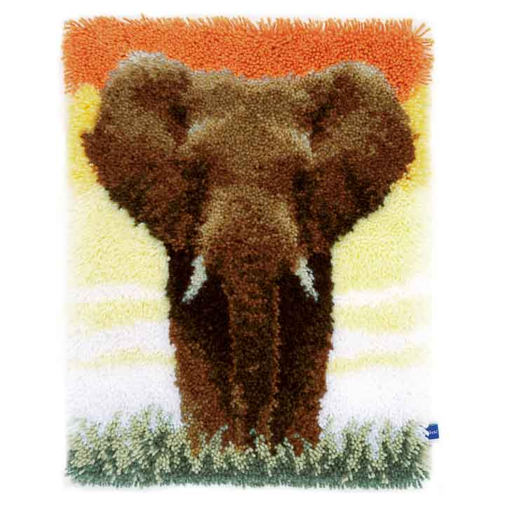 Vervaco Latch Hook Kit: Rug: Elephant in the Savannah Latch Hook Rug & Wall Hanging Kit