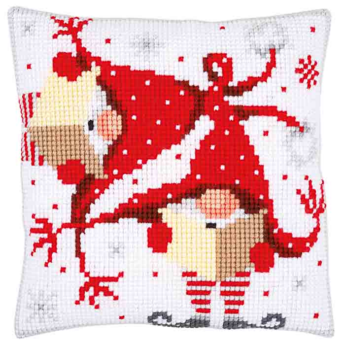 Vervaco Cross Stitch Kit: Cushion: Christmas Gnomes II | PN_0164611 Christmas CSCK