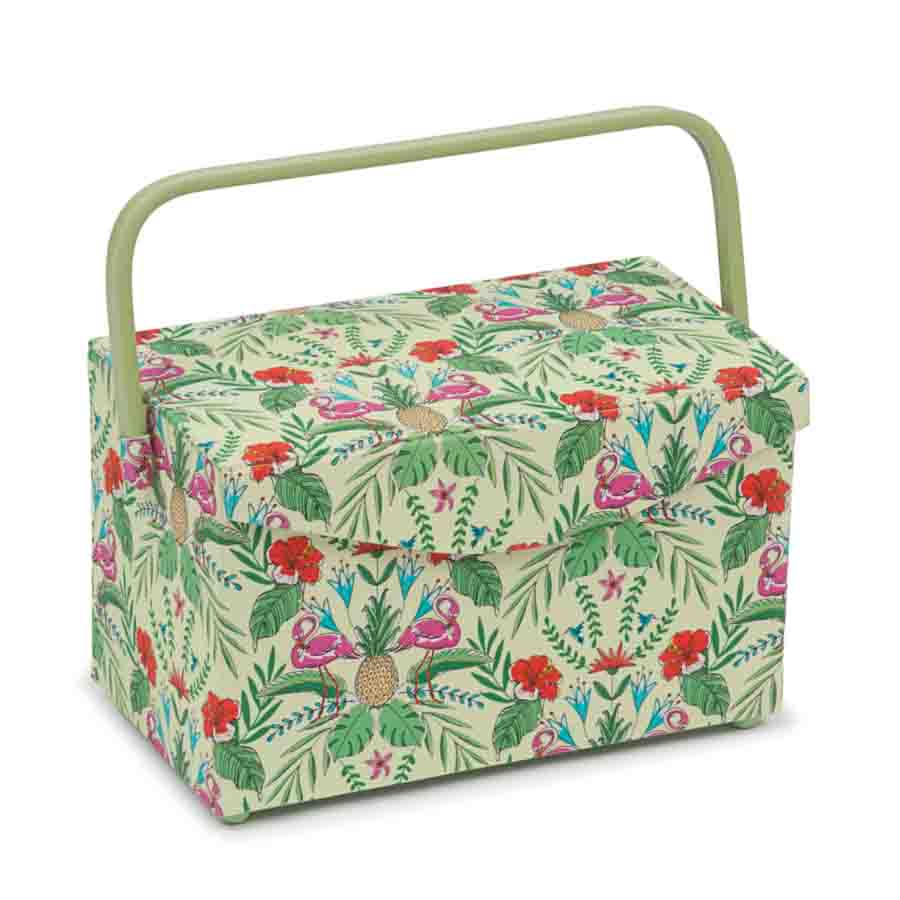 HobbyGift Classic Collection: Fold Over Sewing Box: Tropical Lime | HGFB_457 Tree Print Sewing Box