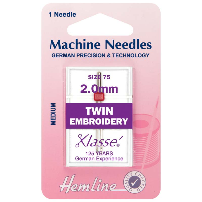 Hemline Sewing Machine Needles: Twin Embroidery: 75/11, 2.0mm: 1 Piece Twin Needle