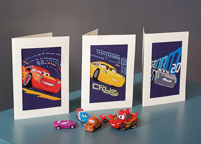 Vervaco Counted Cross Stitch Kit: Cards: Disney: Cars - Screeching Tyres: Set of 3 | PN_0168588 Cars & Transport CSK 2