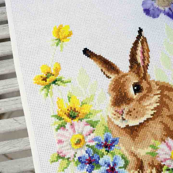 Vervaco Counted Cross Stitch Kit: Runner: Rabbit in Flowers