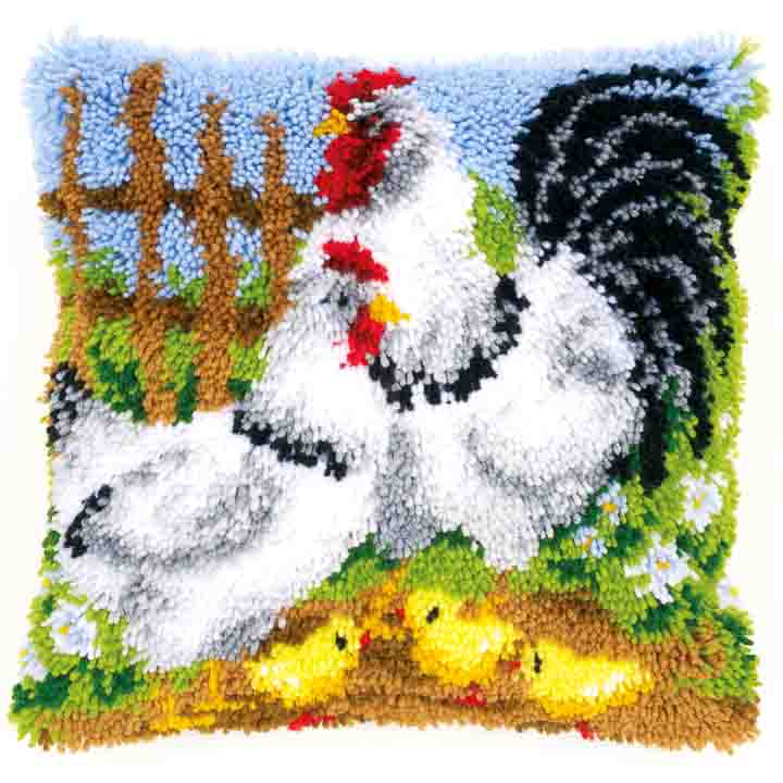 Vervaco Latch Hook Cushion: Chicken Family on a Farm Latch Hook Cushion Kit