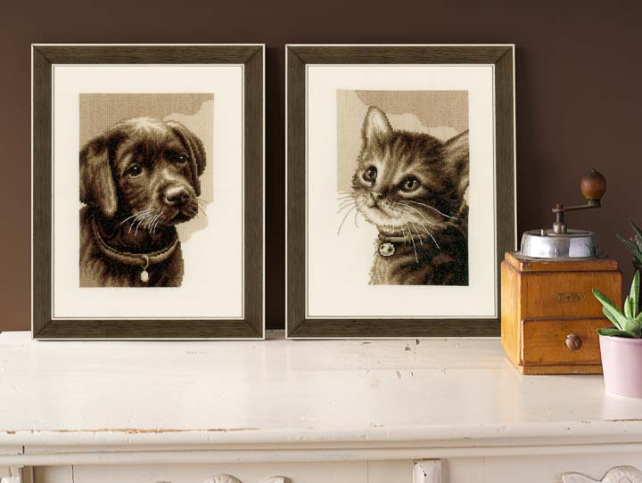 Counted Cross Stitch Kit: Kitten Cats & Dogs CSK