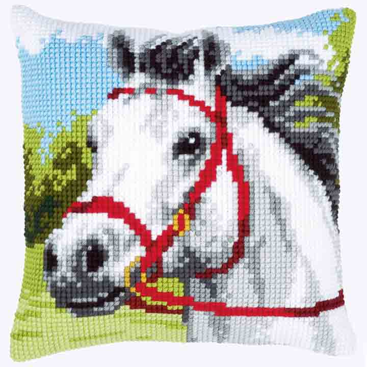 Vervaco Cross Stitch Cushion: White Horse Animals & Birds CSCK