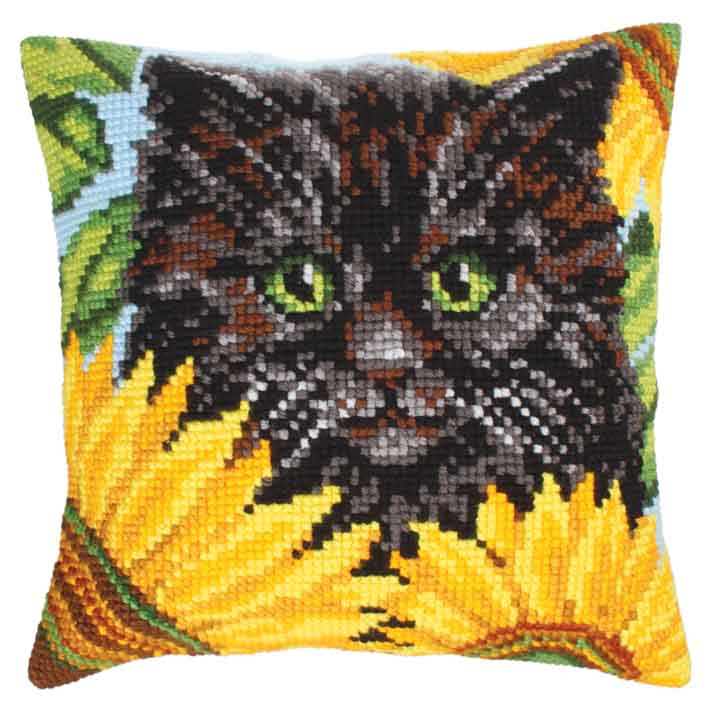 Collection D Art Cross Stitch Cushion: Black Cat and Sunflowers Animals & Birds CSCK