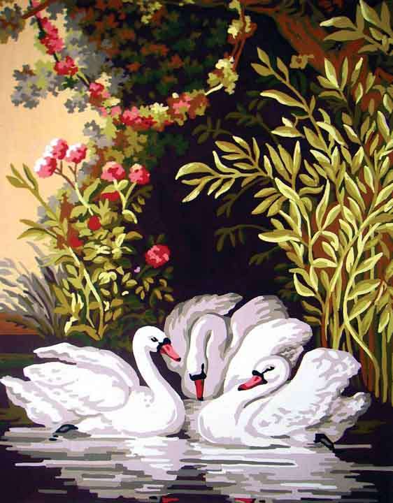 Collection D Art Printed Tapestry Canvas: Swans in the Shadows