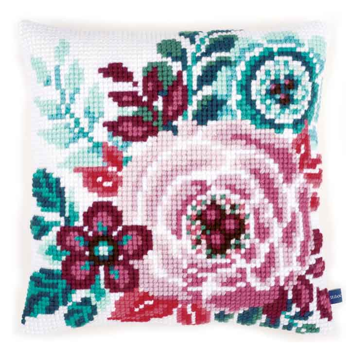 Vervaco Cross Stitch Cushion: Flower Paradise 1 Flowers & Nature CSCK