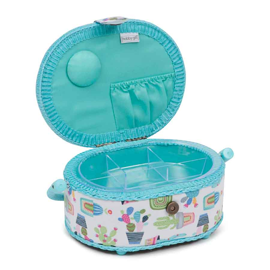 HobbyGift HGSO_459 | Classic Collection: Small Oval Sewing Box | Cactus Party   2